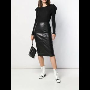 Vintage black leather high waisted pencil skirt